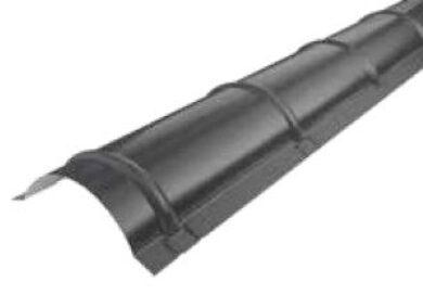 Střešní hřebenáč oblý, bílo hliníkový RAL 9005, délka 2m lesklý(7863)
