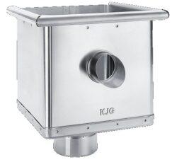 Kotlík pozinkovaný sběrný kubický excentrický s výtokem  80 mm