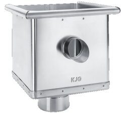 Kotlík pozinkovaný sběrný kubický excentrický s výtokem 120 mm