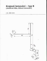 Lemování krajové pozinkované r.š.250 mm, délka 3 m, typ B(667)