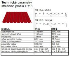 Plech trapézový měděno hnědý RAL 8004, TR18A plus - střešní 0,55mm lesklý