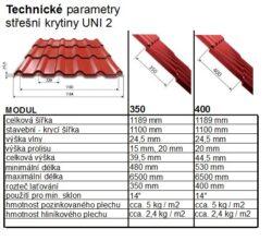 Krytina UNI 2, měděno hnědá RAL 8004, leská - tlouška 0,50mm, modul 350(788)